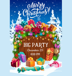 christmas party flyer with xmas tree gifts snow vector image