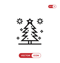 christmas pine tree with stars icon vector image