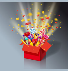 Christmas sweet gift box open 3d-red box with yum vector