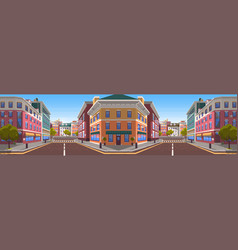 City street with buildings and zebra crossings vector