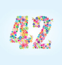 Colorful floral 42 number design isolated on vector