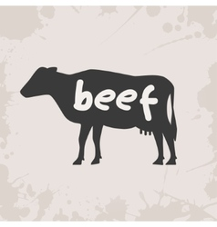cow silhouette with text vector image