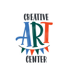 Creative art center flat logo drawing vector