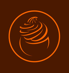 cupcake frosting brown icon symbol design vector image