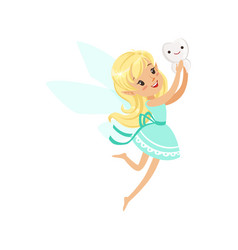 Cute cartoon blonde tooth fairy girl flying with vector