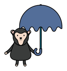 cute monkey with umbrella childish character vector image