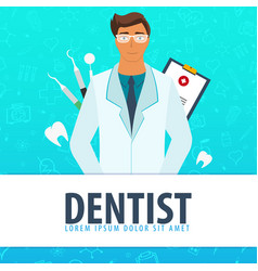 Dentist and dental clinic medical background vector