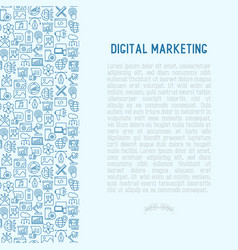 Digital marketing concept with thin line icons vector