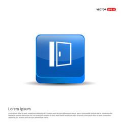 door icon - 3d blue button vector image