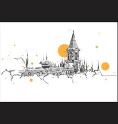 Drawing sketch topkapi palace istanbul vector