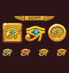 egypt eye of horus with colored precious gems vector image