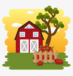 Farmhouse in the farm scene vector