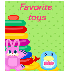 Favorite plastic toys colorful poster on green vector