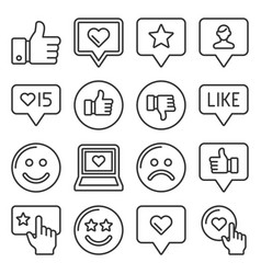 feedback and like icons set line style vector image