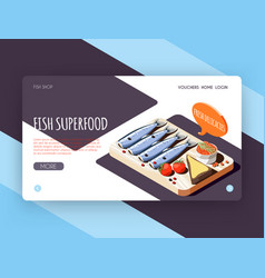 Fish superfood landing page vector