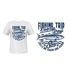 fishing sport t-shirt print with mackerels shoal vector image