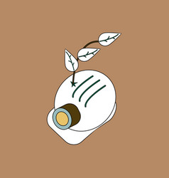 Flat icon design collection helmet and plant vector