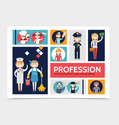 flat profession characters infographic template vector image