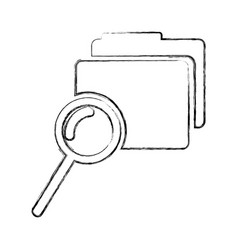 Folder file with magnifying glass isolated icon vector