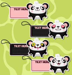 Four cute cartoon Pandas stickers vector