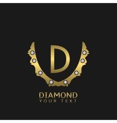 Golden d letters vector