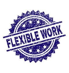 Grunge textured flexible work stamp seal vector