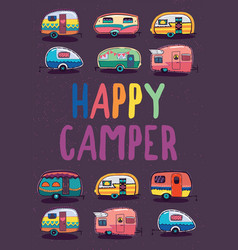 Happy camper trailer banner vector