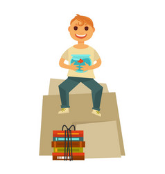 home move happy boy child sitting with books packs vector image