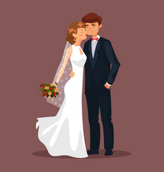 Husband and wife man and woman couple at wedding vector