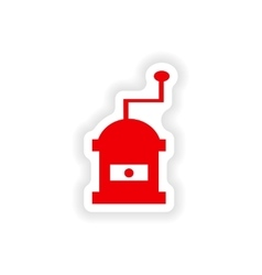 Icon sticker realistic design on paper coffee mill vector