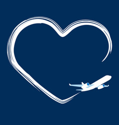 jet plane left trace in the shape of heart vector image