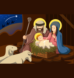 Joseph mary and baby jesus vector