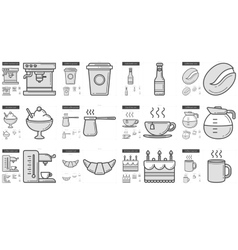Junk food line icon set vector