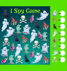 kids halloween i spy game with spooky character vector image