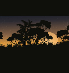 Landscape jungle forest with tree silhouette vector