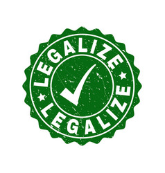 legalize scratched stamp with tick vector image