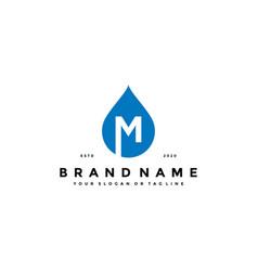 Letter m water drop logo design vector