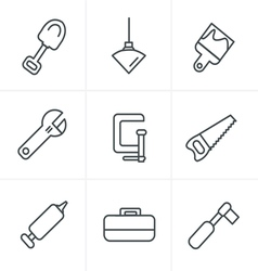 Line Icons Style Basic - Tools and Construction ic vector image