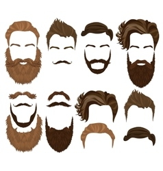 Man hair mustache and beard collection Men vector