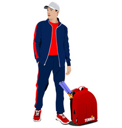 Man tennis player with back sack colored vector