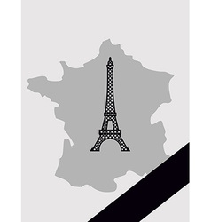 Map france with mourning ribbon mourned in act vector
