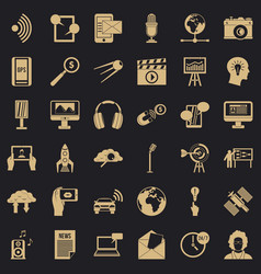 Media outlet icons set simple style vector