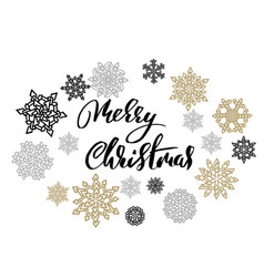 merry christmas on gold and silver snowflakes vector image