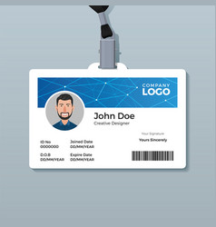 Modern blue polygon id card template vector