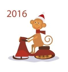 Monkey Santa Claus on snowmobile vector