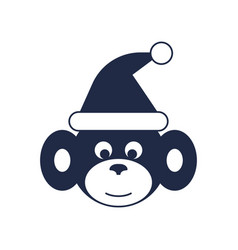 Monkey with santa hat icon vector
