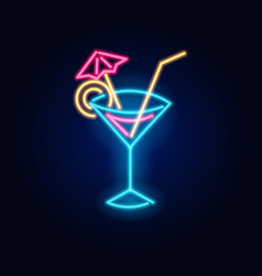 neon cocktail fashion sign night light signboard vector image
