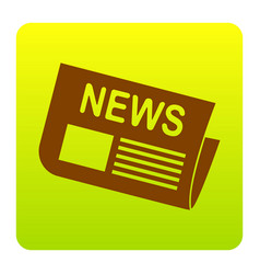 newspaper sign brown icon at green-yellow vector image