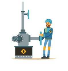 Oilman working on an oil pipeline oil industry vector