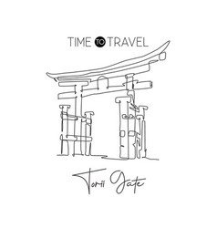 one single line drawing torii gate landmark world vector image